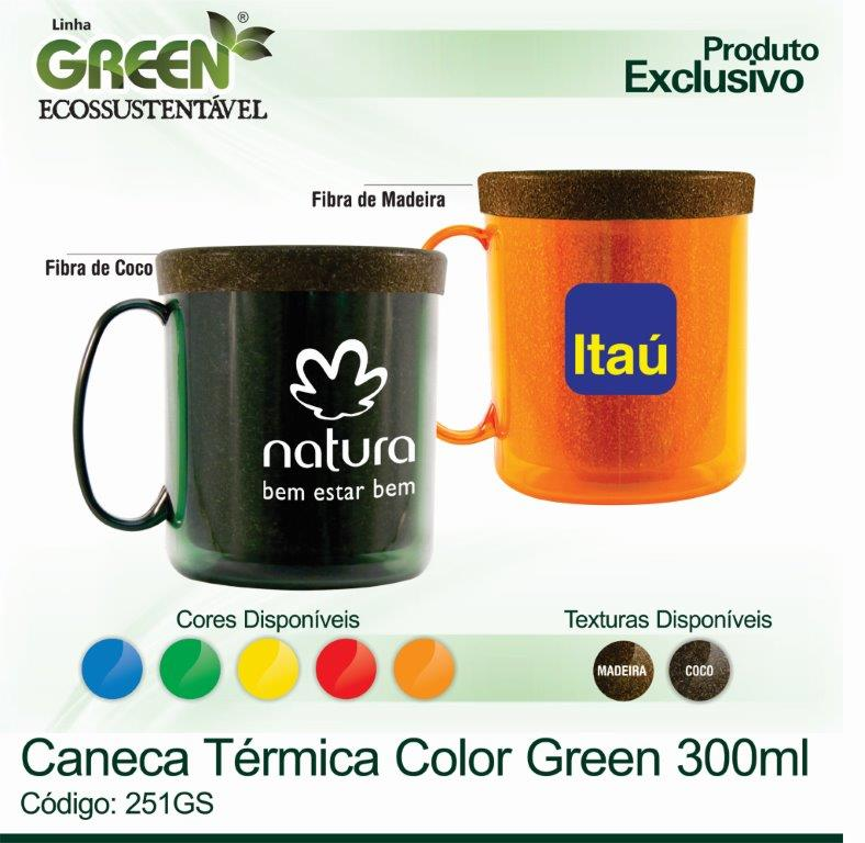 Caneca Térmica Color GREEN - 300ml